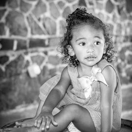 Candid pose by April Sadler - Babies & Children Child Portraits ( black and white, #park #beauty #posed #barrel, #child # )
