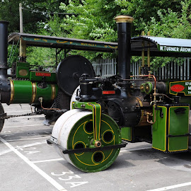 Steamrollers in Green by DJ Cockburn - Transportation Other ( spa valley railway, britain, steamroller, royalty, aveling & porter, vehicle, eridge station, kent, kathleen, wallis & steevens, road roller, construction, antique, steam, 6847, 7979, historic, heritage, history, transport, transportation, works vehicle, industrial, vintage, eridge, 2018 summer transport festival, traction engine, machinery )