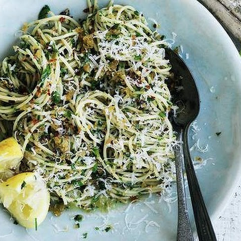 Spaghetti With Garlic, Pangrattato And Olive Oil
