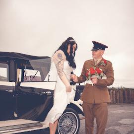 Arriving at the reception by Damien Brearley - Wedding Other ( wedding, wedding car, bride and groom, bride, groom )
