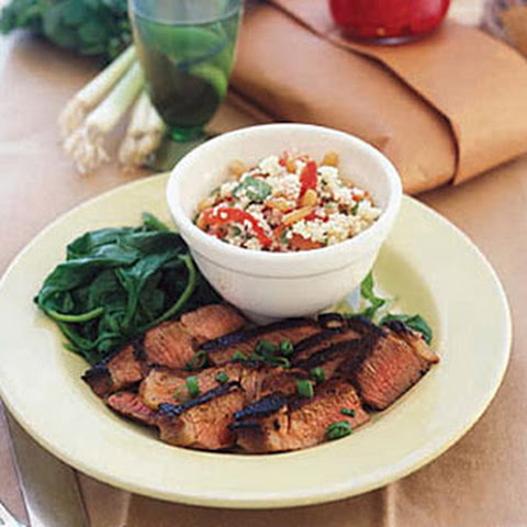 Balsamic Lamb Steaks with Spinach and Couscous