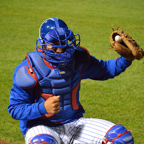 Warming up the pitcher by Benny Lopez - Sports & Fitness Baseball ( south bend cub's baseball,  )