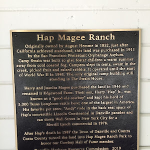 Hap Magee Ranch  Originally owned by August Hemme in 1852, just after  California achieved statehood, this land was purchased in 1911  by the San Francisco Protestant Orphanage Asylum.  Camp Swain ...