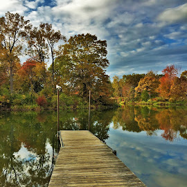 Autumn Dock by Carolyn Taylor - Landscapes Waterscapes