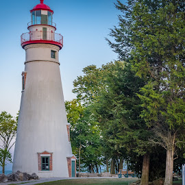 Golden Hour Marblehead Lighthouse by Pat Lasley - City,  Street & Park  Historic Districts ( landmark, marblehead, lighthouse, lake erie, historic )
