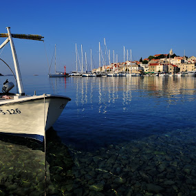 Primosten, Croatia, Europe by Diana Garbacauskiene - Landscapes Travel ( vacation, city panorama, croatia, sea, boat, summer time )