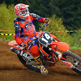 Orange Man by Marco Bertamé - Sports & Fitness Motorsports ( motocross, dust, clumps, race, accelerating, competition )