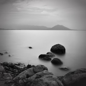 calm lake by Gunarsa Gunarsa - Landscapes Waterscapes ( calm, black and white photograpy, fine art, lake )