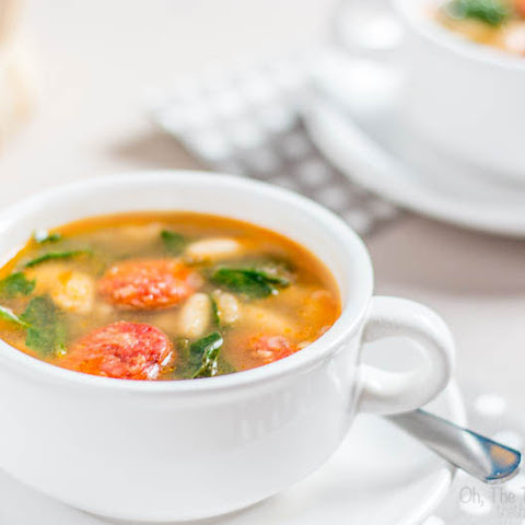 White Bean, Chorizo and Spinach Soup