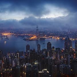 Hong Kong Nights by Andreas Rassele - City,  Street & Park  Skylines ( hongkong, night, travel, cityscape, city )