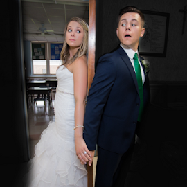 Who's There? by Dave Dabour - Wedding Bride & Groom ( classroom, who's there, not sure, afraid, wedding, door, walshwedding, ashleypaul,  )