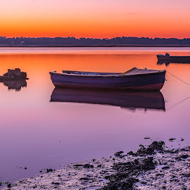 peaceful sunset. by Roy Hornyak - Landscapes Waterscapes ( calm, water, sky, sunset, boats, reflections, sea, colours )