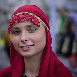 Georgian . by An Mark - People Portraits of Women ( georgian, red, blue eyes, scene, smile )