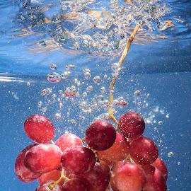 Grape Shot  by Paul Putman - Food & Drink Fruits & Vegetables ( water, drop shot, colour, speedlight, grapes, bubbles )