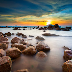 Light to Rock by Andre Adhie - Landscapes Waterscapes ( #landscape #sky #color #seascape #sunset )