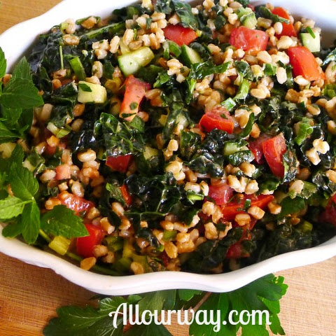 Farro Tabbouleh with Kale, Cucumber, Mint