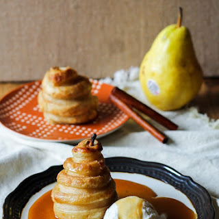 Apple Cider Poached Pears in Puff Pastry