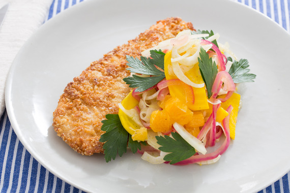 Matzoh-Crusted Chicken with Orange, Fennel & Golden Beet Salad Recipe ...