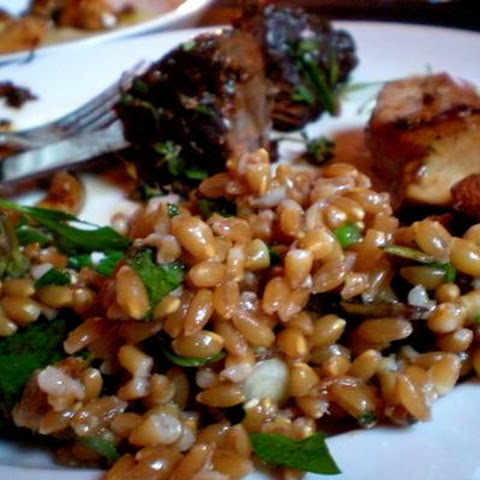 Farro With Scallion, Purslane and Walnuts