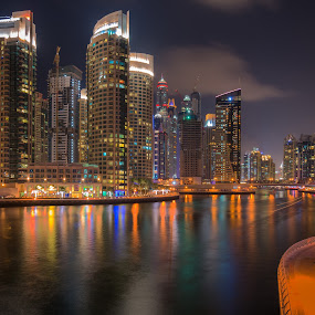 Dubai Marina Night Photo by Walid Ahmad - City,  Street & Park  Night ( night photography, dubai, uae, dubai marina, night )