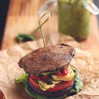 Roasted Vegetable Sandwich Stack with Avocado-Basil Sauce
