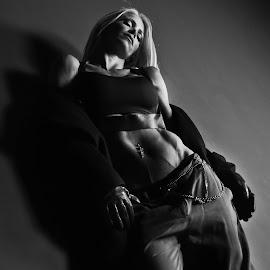 Shadows by Rebeka Legovic - People Fashion ( blackandwhite, fashion, monochrome, fitness model, black and white, fashion photography,  )