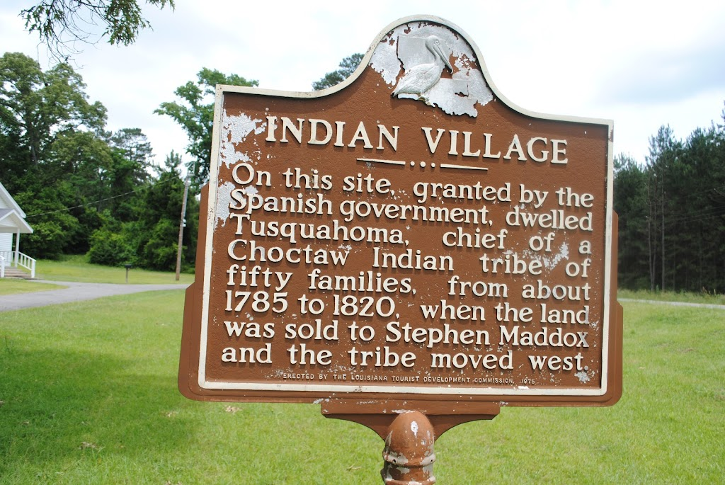 On this site, granted by the Spanish government, dwelled Tusquahoma, chief of a Choctaw Indian tribe of fifty families, from about 1785 to 1820, when the land was sold to Stephen Maddox and the tribe ...