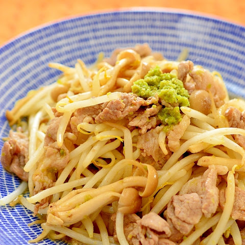 Stir-fried Pork and Bean Sprouts with Yuzu kosho