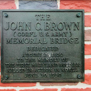 THEJOHN C. BROWN(CORP'L U.S. ARMY)MEMORIAL BRIDGEDEDICATEDAUGUST 26, 1950TO THE MEMORY OFTHE FIRST MARYLAND SOLDIERKILLED IN ACTION IN KOREAJUNE 30, 1950Submitted by Patrick M. Ryan