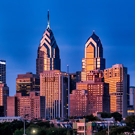 Close up view of the Philadelphia Skyline at Dusk by Carol Ward - City,  Street & Park  Skylines ( night photography, philly, south street bridge, philadelphia, dusk, nightscape )