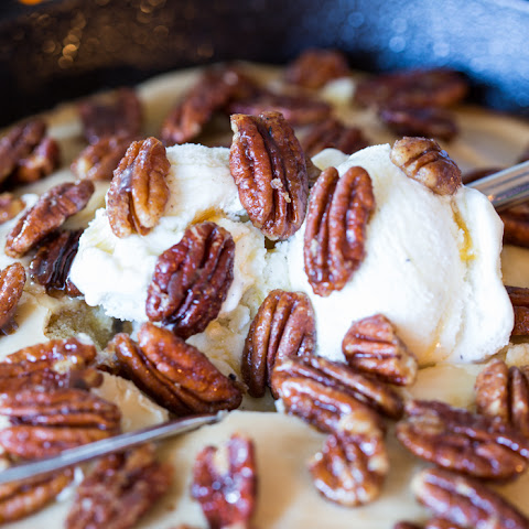 Hot Maple Cake with Crackle Icing and Maple Candied Pecans