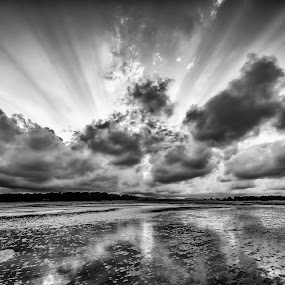 On earth under heaven by Laurie King - Landscapes Beaches ( clouds, queensland, carmila beach, sunset, australia, reflections, pwcbwlandscapes, mudflats, solar burst )
