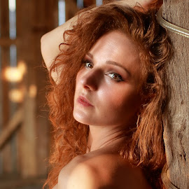 Summer Shade  by Big Pikey - Nudes & Boudoir Artistic Nude ( redhead girl artistic nude, natural light and natural beauty, artistic nude portrait, woodgrain nude sun and shade, beautiful redhead art nude, topless in the old barn,  )