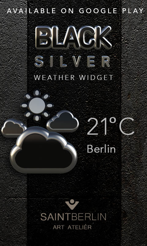 Black Silver Clock Widget Screenshot 3