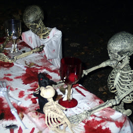 Halloween Dinner by Kenneth Cox - Public Holidays Halloween ( scary, decoration, skeleton, weird, halloween )