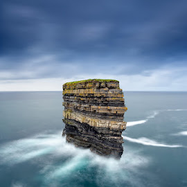 Dun Briste, Downpatrick Head by Ryszard Lomnicki - Landscapes Cloud Formations ( downpatrick head, connemara, cork, dingle, ireland, cliffs, seastack, dublin, galway, cliffs of moher, donegal, dun briste, sunset, mayo, sunrise, longexposure )