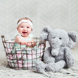 Cutie and her Elephant by Jenny Hammer - Babies & Children Child Portraits ( girl, elephant, child portrait, baby, cute )