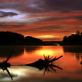 FIRST DAY OF OCTOBER by Dana Johnson - Landscapes Sunsets & Sunrises ( dawn, waterscape, lake, sunrise, landscape )
