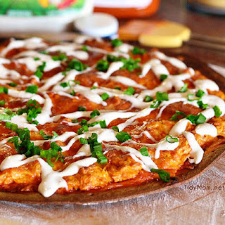 Buffalo Chicken Pizza with Slow Cooker Creamy Ranch Buffalo Chicken