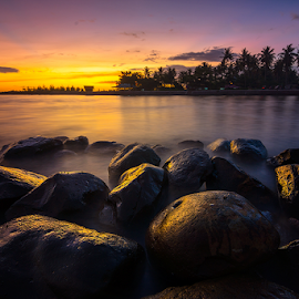 Sunset at Tabing by Ade Noverzan - Landscapes Waterscapes ( sunset, twilight, long exposure, beach, stones )