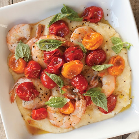Herb Brined Shrimp with Polenta