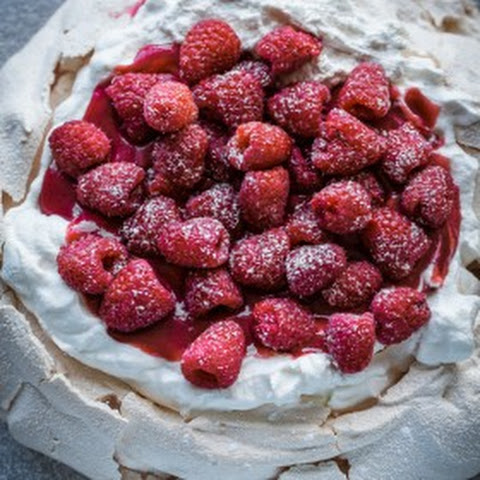 Fresh Raspberry Curd & Vanilla Whipped Cream Pavlova