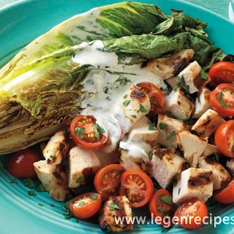 Chicken and Romaine Salad with Homemade Ranch Dressing
