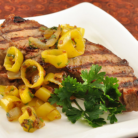 Steak With Pickled Peppers, Garlic and Butter