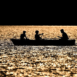 Golden lake by Dragos Vana - City,  Street & Park  City Parks ( sunset, boys, silhouettes, lake, gold, boat, contrejour, black )