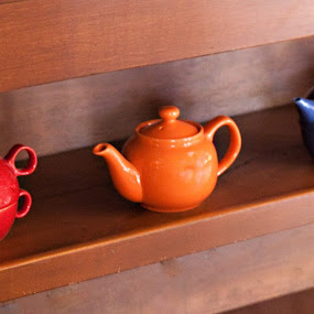 My 3 Little Tea Pots  by Sherry Hallemeier - Artistic Objects Cups, Plates & Utensils ( sweet tea, orange, photograph, art, fine art, framed art, tea pots, tea, relaxing, photo, artwork, photography, refreshing, red, blue, drink, artistic, three, shelf, objects, hot tea,  )