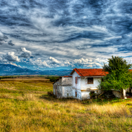 The Road to Meteora - Grevena To Kalambuka by Rik Freeman - Landscapes Prairies, Meadows & Fields ( clouds, mountain, hdr, thessaly, meteora, greece, summer, house, travel, landscape, fields,  )