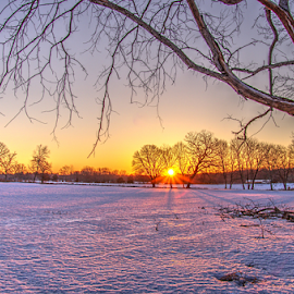 Sunrise in the snow. by Nyen Chin - Landscapes Prairies, Meadows & Fields (  )