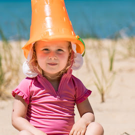 Bucket Head by Andrew Christmann - Babies & Children Child Portraits ( sand, kid, beach, lake, water, lilly, child )
