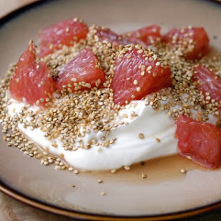 Greek Yogurt With Honey-broiled Grapefruit, Sesame And Toasted Quinoa